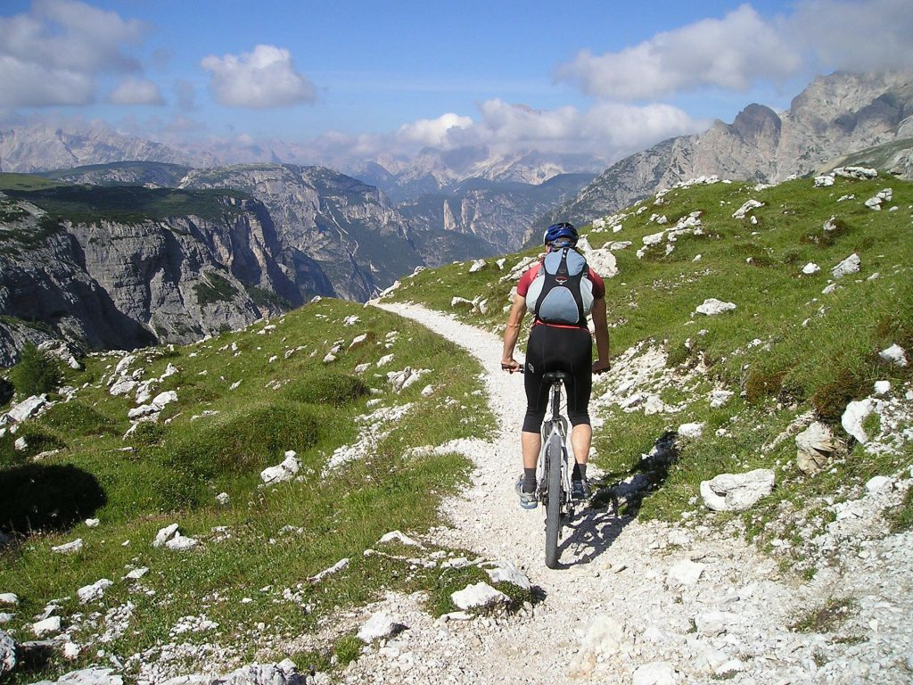 mountainbiker on trail in beautiful mountain landscape,mountainbike, radfahren, mountain bike, bike, reiteralm, trail